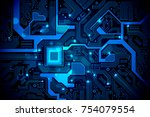high tech electronic circuit... | Shutterstock .eps vector #754079554