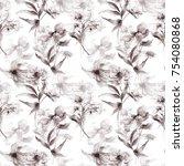 seamless wallpaper with wild... | Shutterstock . vector #754080868