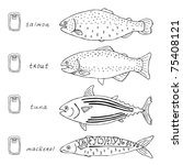 fish sketch collection | Shutterstock .eps vector #75408121