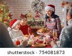 merry christmas  happy family... | Shutterstock . vector #754081873