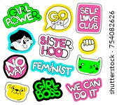 feminism vector patch set.... | Shutterstock .eps vector #754082626