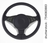3d steering wheel on a white... | Shutterstock . vector #754083883