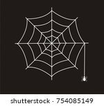 white spider web vector icon... | Shutterstock .eps vector #754085149