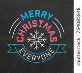typographic christmas design  ... | Shutterstock .eps vector #754085848