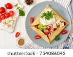 french cuisine. breakfast ... | Shutterstock . vector #754086043