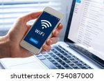 wifi symbol on smartphone... | Shutterstock . vector #754087000