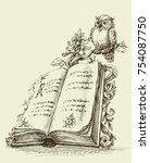 open book vintage stand and... | Shutterstock .eps vector #754087750