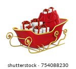 christmas sleigh with presents... | Shutterstock . vector #754088230
