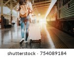 woman traveler tourist walking... | Shutterstock . vector #754089184