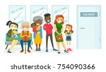 group of multicultural people... | Shutterstock .eps vector #754090366