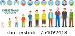 christmas and new year family...   Shutterstock .eps vector #754092418