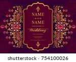 indian wedding invitation card... | Shutterstock .eps vector #754100026