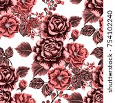 rose seamless pattern.... | Shutterstock .eps vector #754102240