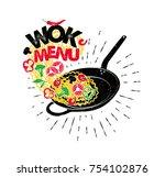 wok pan. asian fast food. hand... | Shutterstock .eps vector #754102876