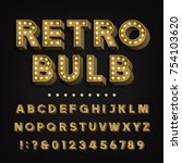 retro sign alphabet. 3d vintage ... | Shutterstock .eps vector #754103620