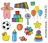 toys collection | Shutterstock .eps vector #75410671
