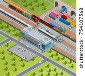modern suburban railway station ...   Shutterstock . vector #754107568