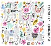 vector set of adorable lamas.... | Shutterstock .eps vector #754107886