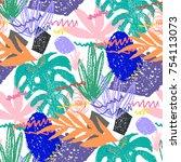 creative hand drawn textures.... | Shutterstock .eps vector #754113073