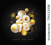 abstract 2018 new year greeting ... | Shutterstock .eps vector #754113508