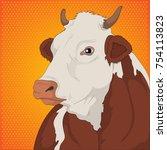 cow  animal illustration ... | Shutterstock .eps vector #754113823