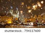 the old town square at... | Shutterstock . vector #754117600