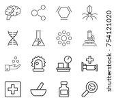 thin line icon set   brain ...   Shutterstock .eps vector #754121020
