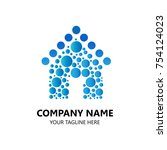 logo design house with bubble... | Shutterstock .eps vector #754124023