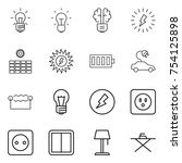 thin line icon set   bulb ... | Shutterstock .eps vector #754125898