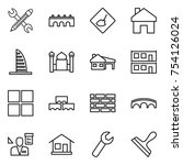 thin line icon set   pencil... | Shutterstock .eps vector #754126024