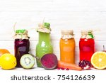 colorful fresh juices with... | Shutterstock . vector #754126639
