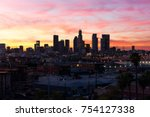 beautiful sunset over downtown... | Shutterstock . vector #754127338