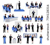 public speaking people flat... | Shutterstock . vector #754128316