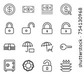 thin line icon set   dollar ... | Shutterstock .eps vector #754130968