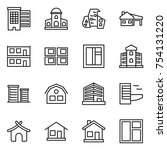 thin line icon set   houses ... | Shutterstock .eps vector #754131220