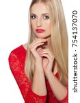 beautiful woman with long blond ...   Shutterstock . vector #754137070