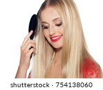 beautiful woman with long blond ...   Shutterstock . vector #754138060