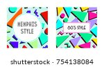 set of retro vintage 80s or 90s ... | Shutterstock . vector #754138084