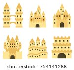 sand castle isolated in flat... | Shutterstock .eps vector #754141288