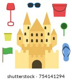 sand castle isolated in flat... | Shutterstock .eps vector #754141294