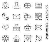 thin line icon set   pointer ... | Shutterstock .eps vector #754142773