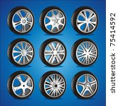 automotive wheel with alloy... | Shutterstock .eps vector #75414592