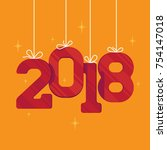 lovely new 2018 year red and... | Shutterstock .eps vector #754147018