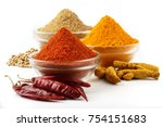 indian spices  chilli powder  ... | Shutterstock . vector #754151683