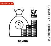 saving icon. thin line vector... | Shutterstock .eps vector #754154644