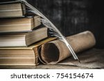 old quill pen with old paper... | Shutterstock . vector #754154674