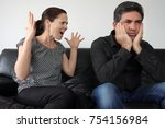nagging wife  age 30  complains ... | Shutterstock . vector #754156984