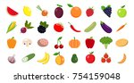 set of fruits and vegetables | Shutterstock .eps vector #754159048