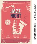 musical poster in retro style.... | Shutterstock .eps vector #754160230