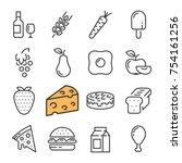 black line food icons set....   Shutterstock .eps vector #754161256